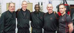 L-R Sifu Paul Spencer, Sifu Mark Solomons, Master Eric Wilson, Sifu Gary Cooper, Sifu Ashley Phillips